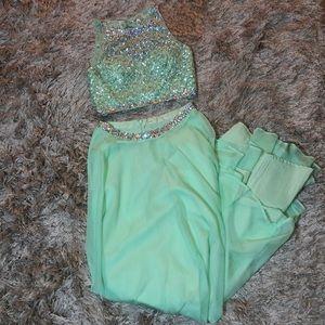 Pistachio green rhinestone 2 piece prom dress